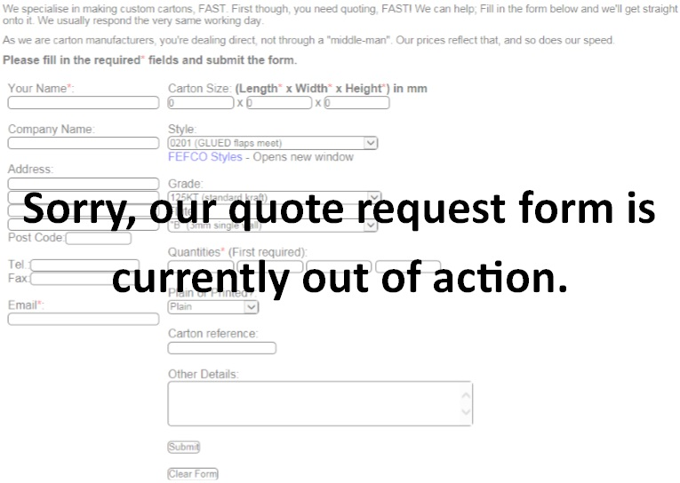 Quote form currently out of action